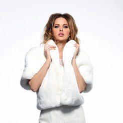 Ivory Faux Fur Bridal Jacket Poirier BOL-51