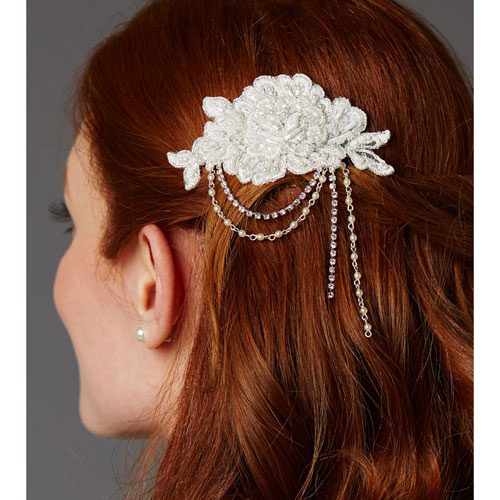 English Rose Lace Bridal Comb 4452