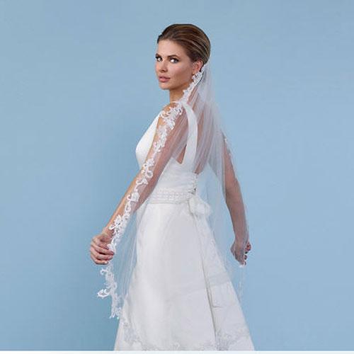b66cacdc56 Soft Tulle Lace Bridal Veil - Poirier S140 - Zaphira Bridal