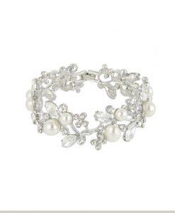 Crystal & Pearl Wedding Bracelet - Amie