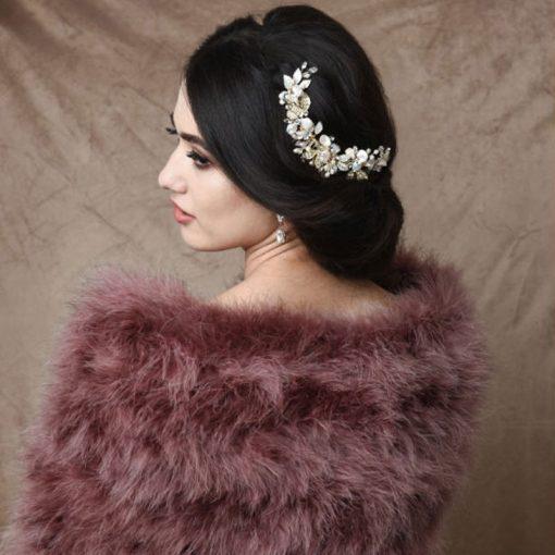Amara Baroque Pearl & Crystal Wedding Hair Comb