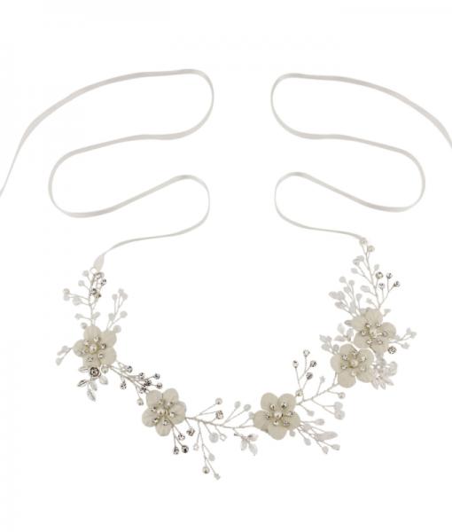 Floral Bridal Hair Vine with Satin Ribbon Ties - Alana