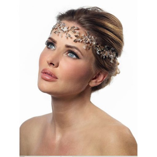 Gold Crystal Flower Wedding Hair Vine BB-8541