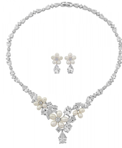 Cubic Zirconia & Pearl Wedding Jewellery Set Anoushka