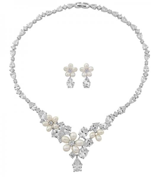 Cubic Zirconia & Pearl Wedding Jewellery Set Anoushka