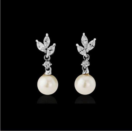 Cubic Zirconia & Pearl Bridal Earrings