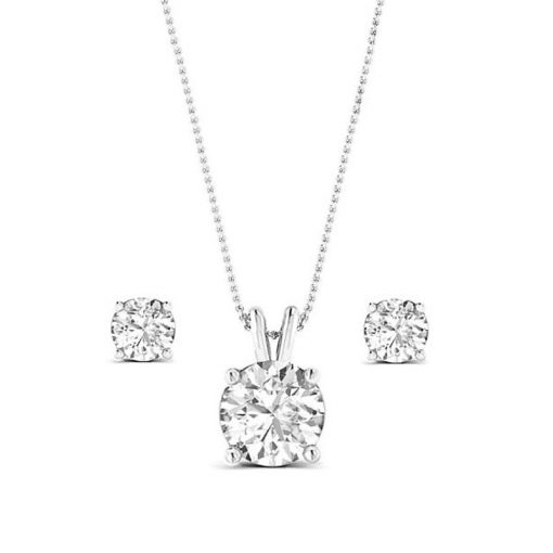 Cubic Zirconia Solitaire Necklace & Earrings Set