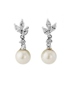 Cubic Zirconia & Pearl Bridal Earrings