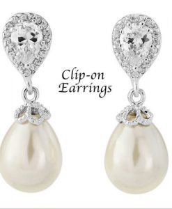 Clip On Pearl & Crystal Drop Bridal Earrings