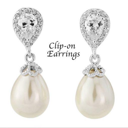 Clip On Pearl & Crystal Drop Bridal Earrings