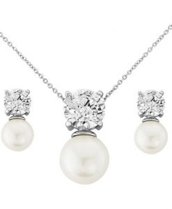 Hayworth Cubic Zirconia & Pearl Bridal Jewellery Set