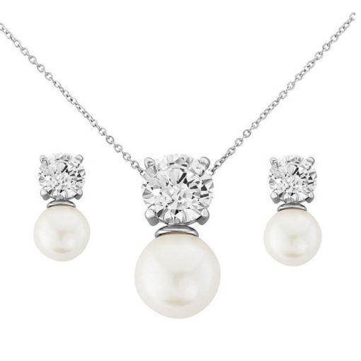 Hayworth Cubic Zirconia & Pearl Bridal Jewellery Set