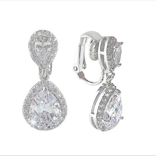 Cubic Zirconia Clip-On Wedding Earrings - Starlet